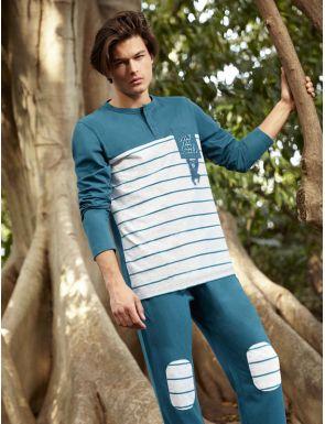 Pijama home de cotó a ratlles