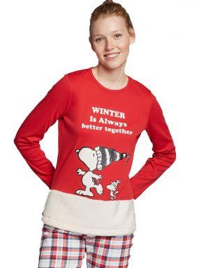 Pijama llarg Snoopy en teixit de peluix de dona