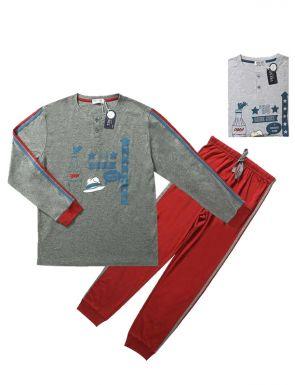 Pijama de la marca Tress en vermell gris / blau gris, talles M / XXL