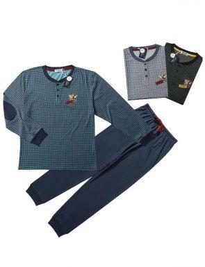 Pijama de la marca Tress amb quadrícula en blau / verd / negre, talles M / XXL