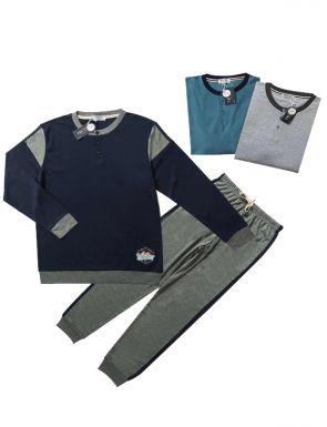 Pijama de la marca Tress en marí / turquesa / gris, talles M / XXL